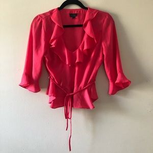 Topshop Ruffle Blouse Top Pink Size 6